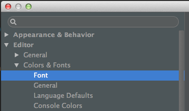 how to change font intellij