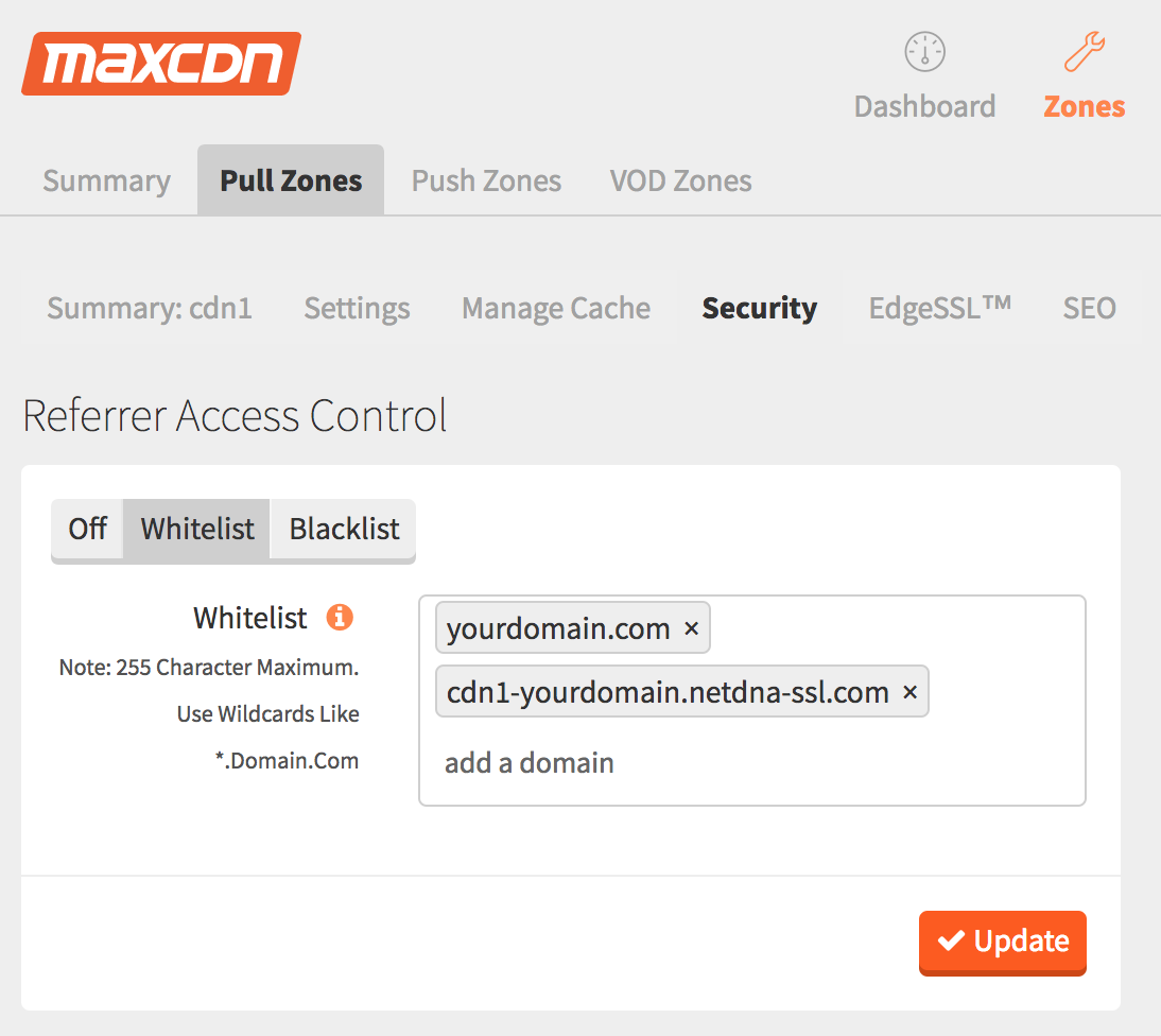 MAXCDN settings: Pull Zone tab, Security tab, whitelist tab, add cdn1-domain.netdna-ssl.com to whitelist
