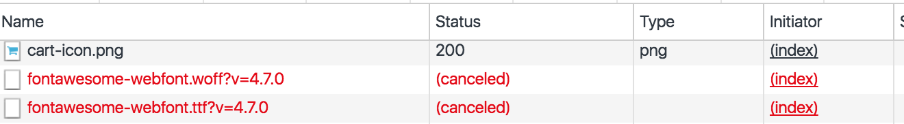 Errors in the Chrome Network tab. fontawesome-webfont status is canceled.